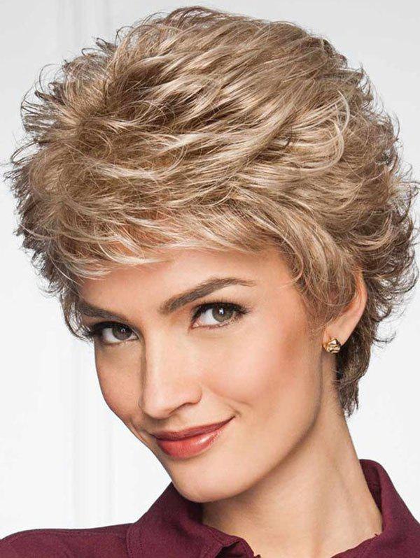 Fancy Short Side Bang Layered Slightly Curly Synthetic Wig