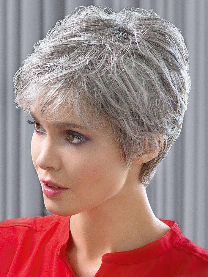 Trendy Short Inclined Bang Straight Synthetic Wig