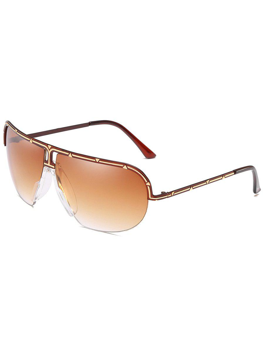Fashion Unique Metal Half Frame Shield Sunglasses