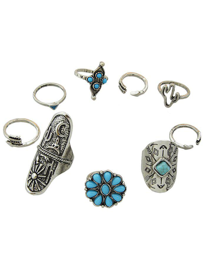 Affordable Artificial Gemstone Decoration Rings Set