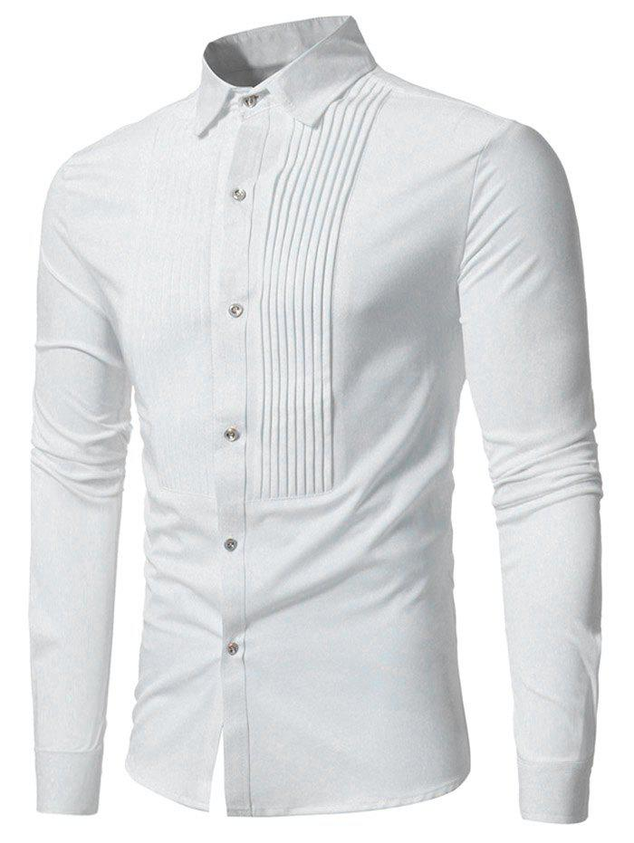 Online Pleated Solid Color Long Sleeve Shirt