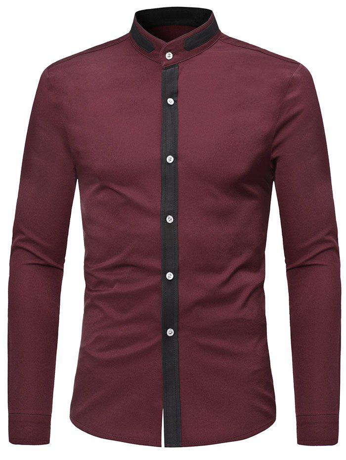 Latest Casual Stand Collar Contrast Color Shirt