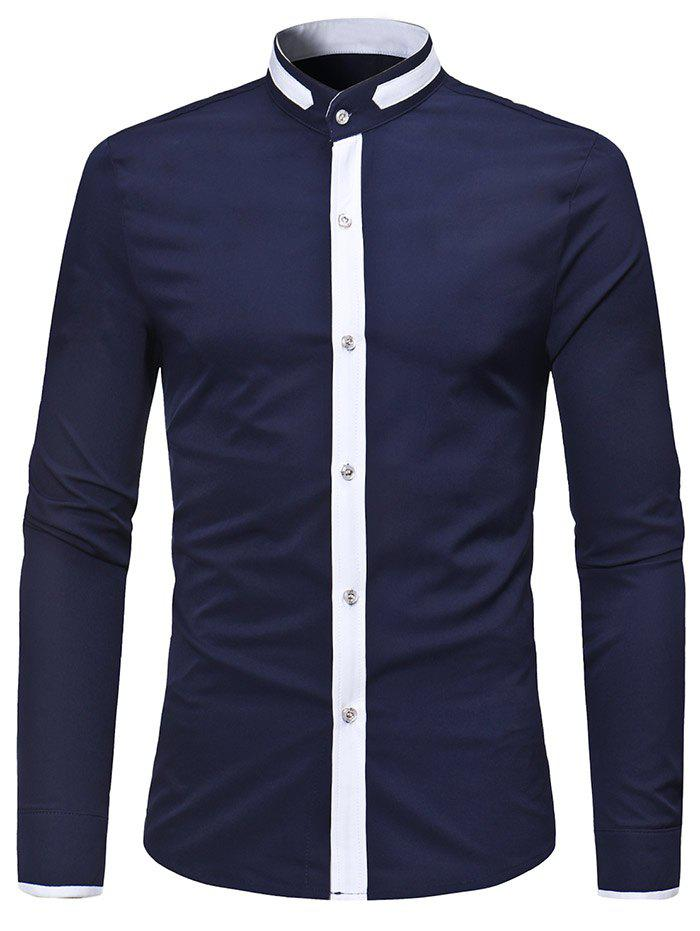 Discount Casual Stand Collar Contrast Color Shirt