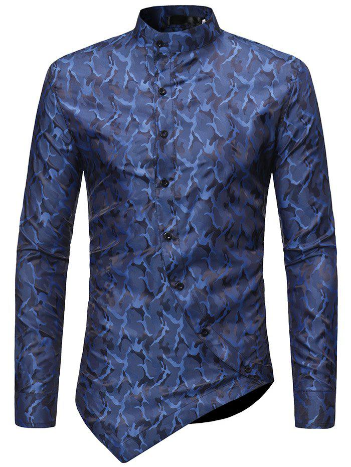 Outfit Camouflage Print Asymmetric Stand Collar Shirt