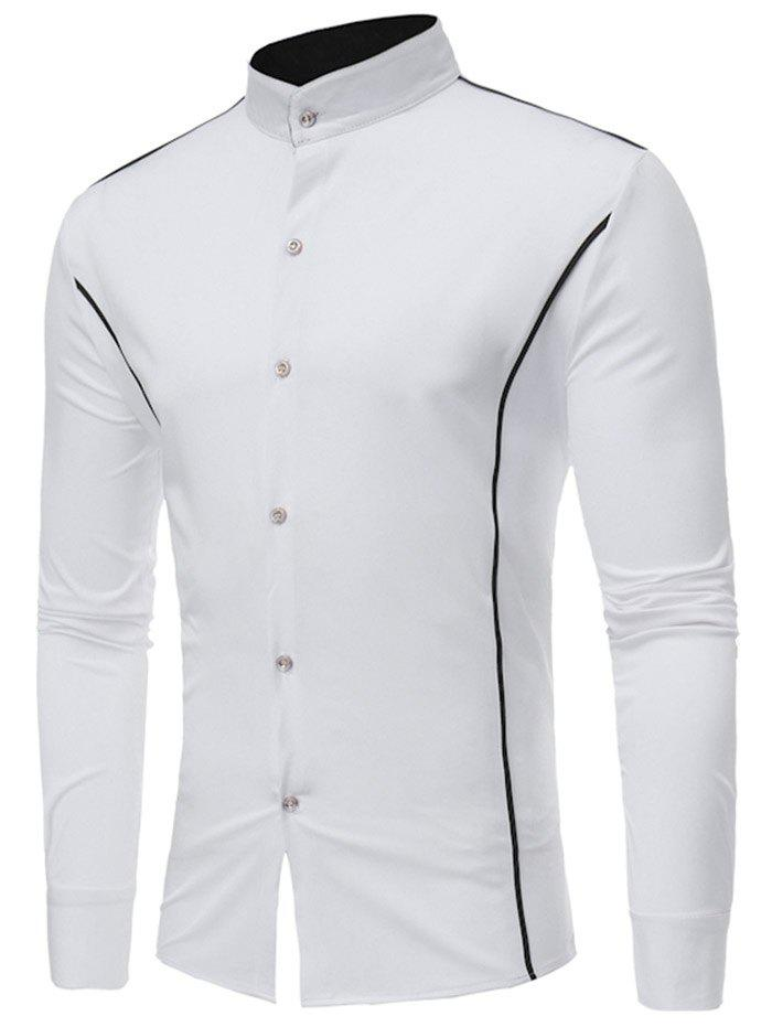 Shops Casual Contrast Color Stand Collar Shirt