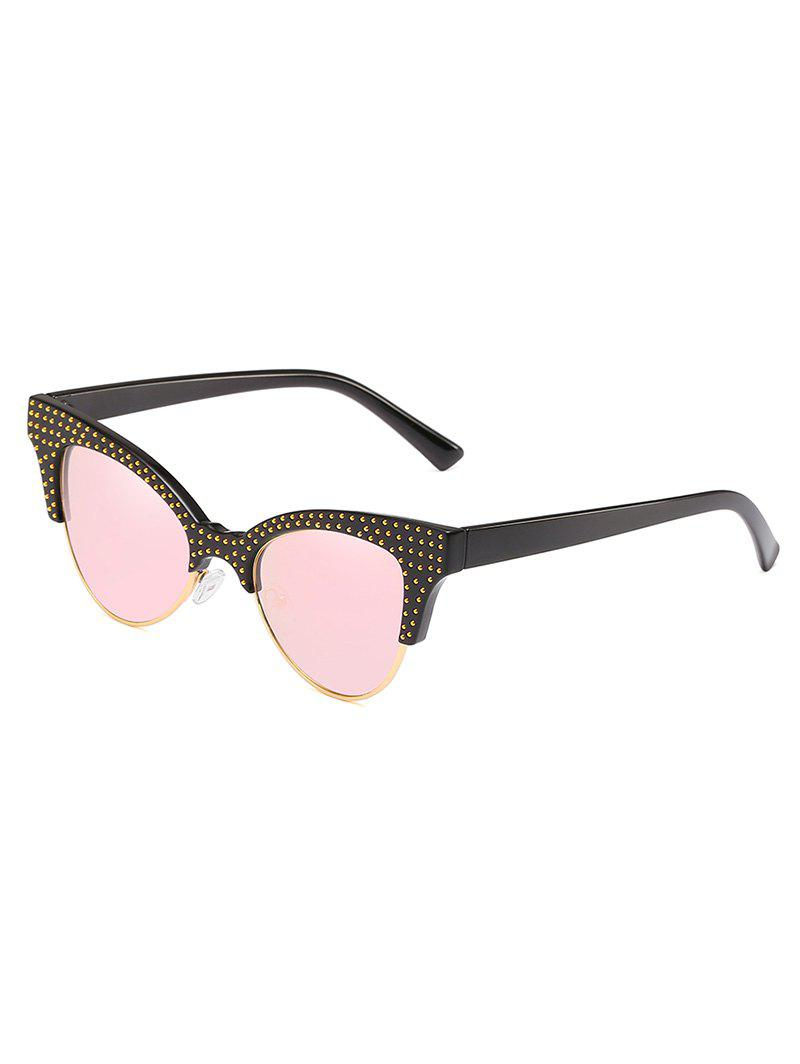 Fancy Rivets Inlaid Semi Rimless Catty Sunglasses