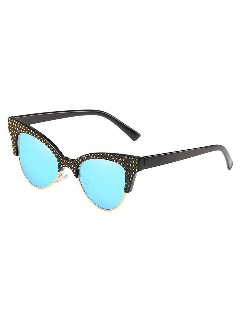 Trendy Rivets Inlaid Semi Rimless Catty Sunglasses