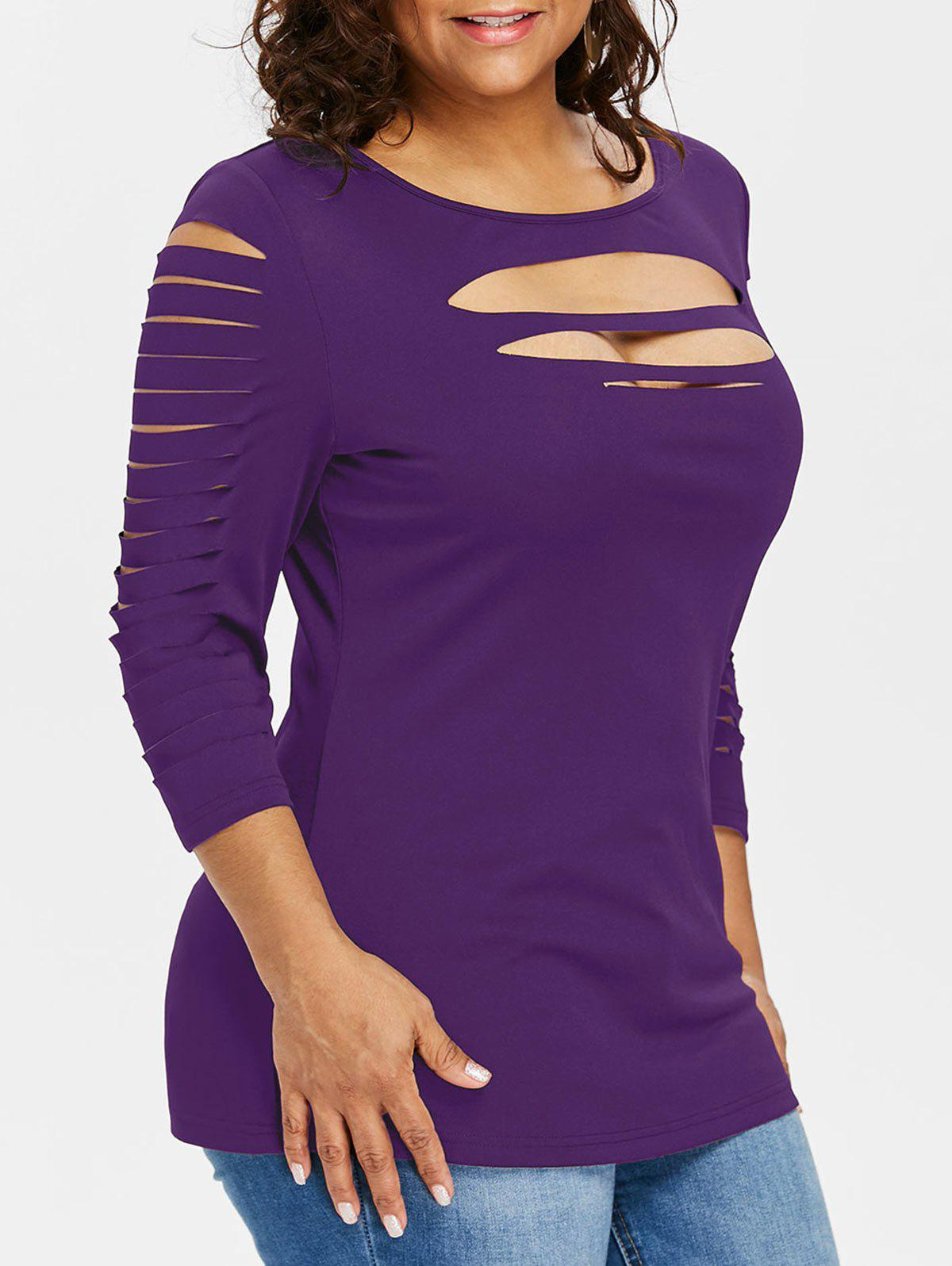 Outfits Plus Size Three Quarter Sleeve Ripped T-shirt
