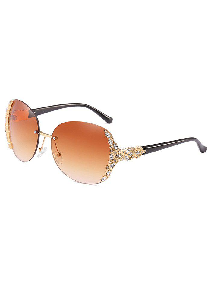 Outfit Anti Fatigue Rhinestone Rimless Oversized Sunglasses