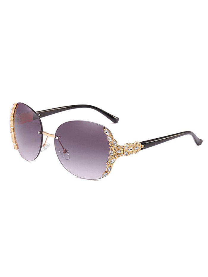 Shop Anti Fatigue Rhinestone Rimless Oversized Sunglasses