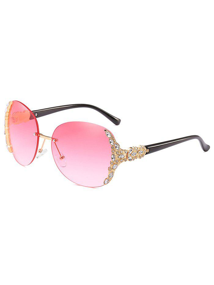 Latest Anti Fatigue Rhinestone Rimless Oversized Sunglasses
