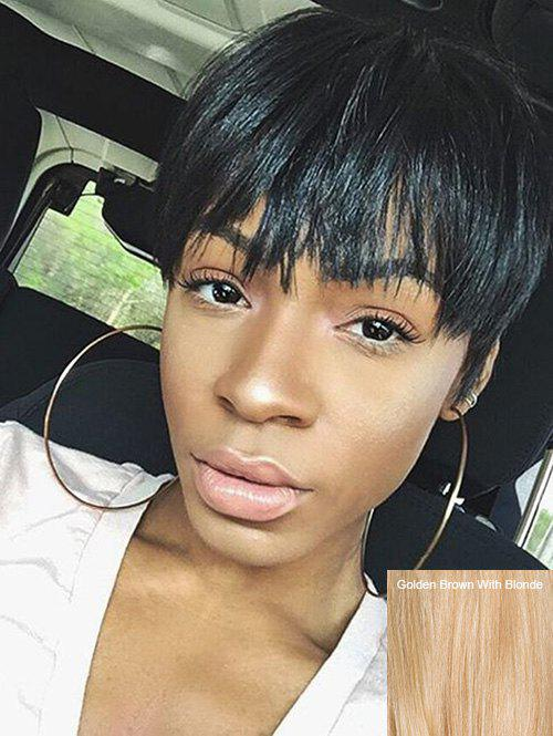Unique Short Full Bang Straight Pixie Capless Human Hair Wig