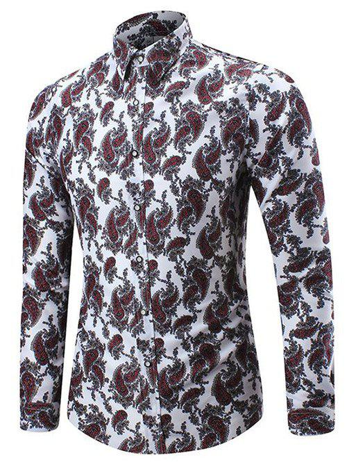 Outfits Allover Cell Print Three-button Cuff Shirt