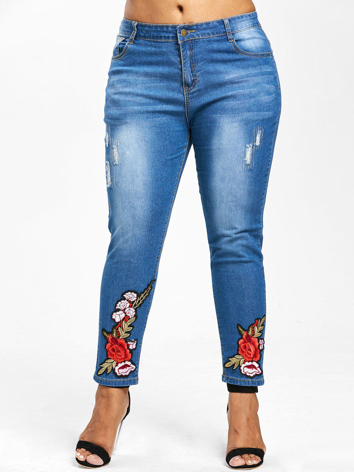 New Floral Embroidery Plus Size Straight Jeans