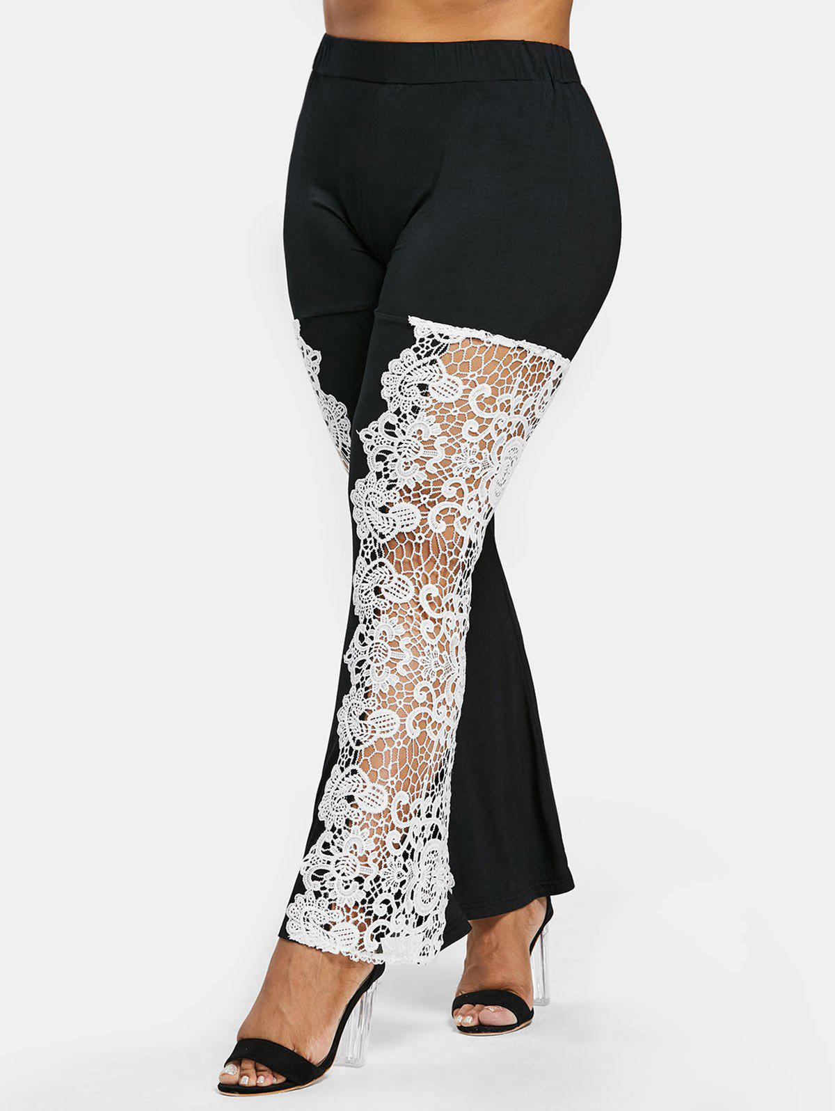 Trendy Plus Size Cutwork Lace Flare Leggings