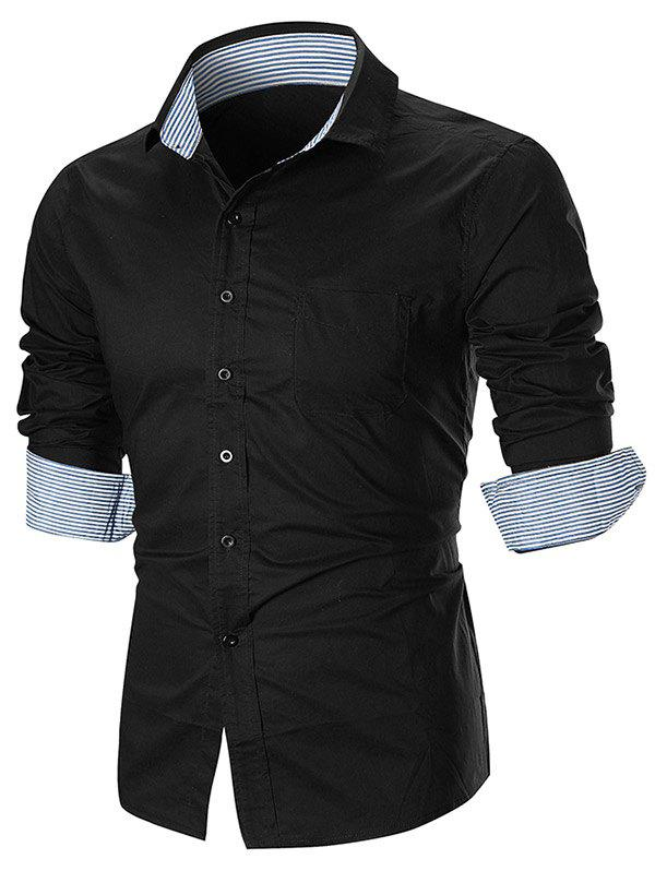 Unique Stripe Splicing Turn Down Collar Edging Button Down Shirt