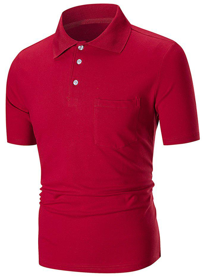Fashion Solid Color Pocket Short Sleeve Polo Shirt