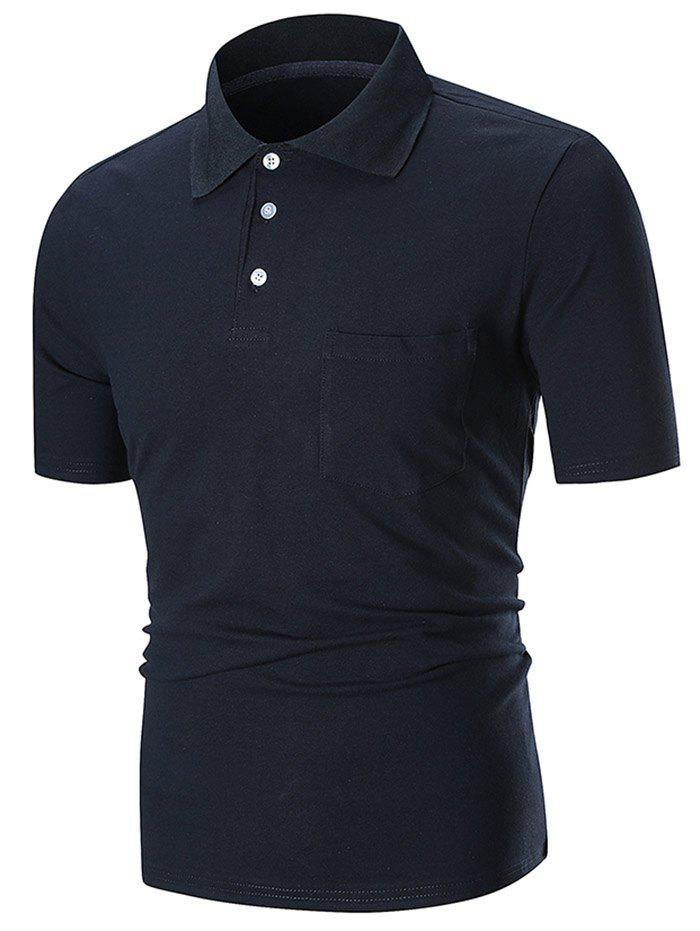 Buy Solid Color Pocket Short Sleeve Polo Shirt