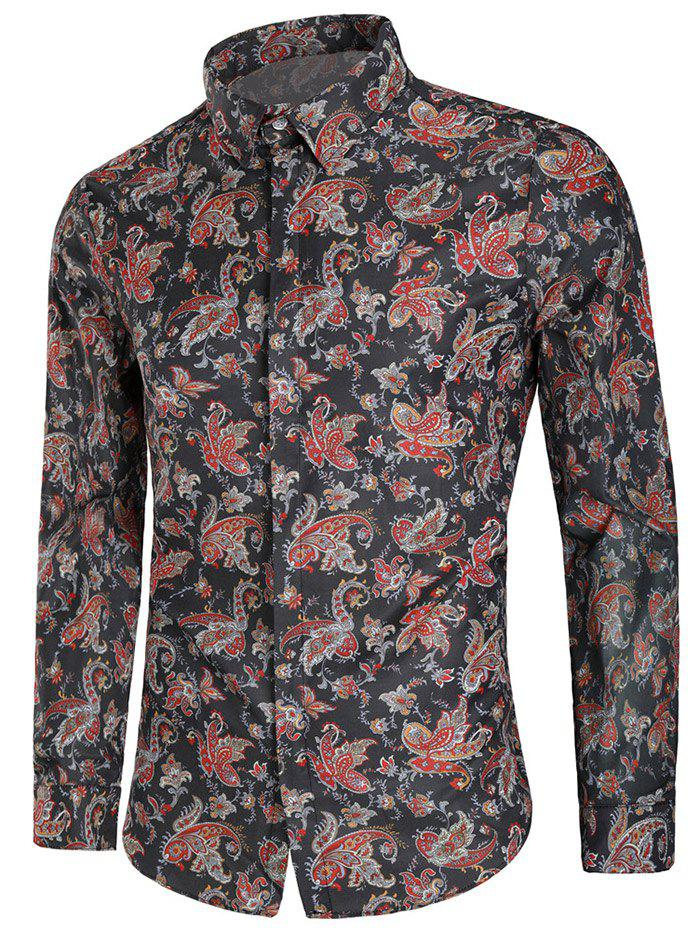 Outfit Vintage Floral Print Button Up Long Sleeve Shirt
