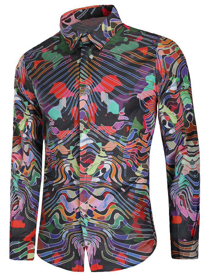 Latest Colorful Curve Print Long Sleeve Casual Shirt