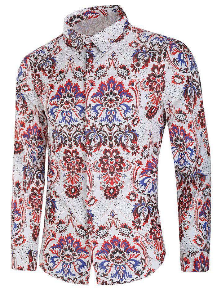 Unique Vintage Blooming Flower Print Long Sleeve Casual Shirt