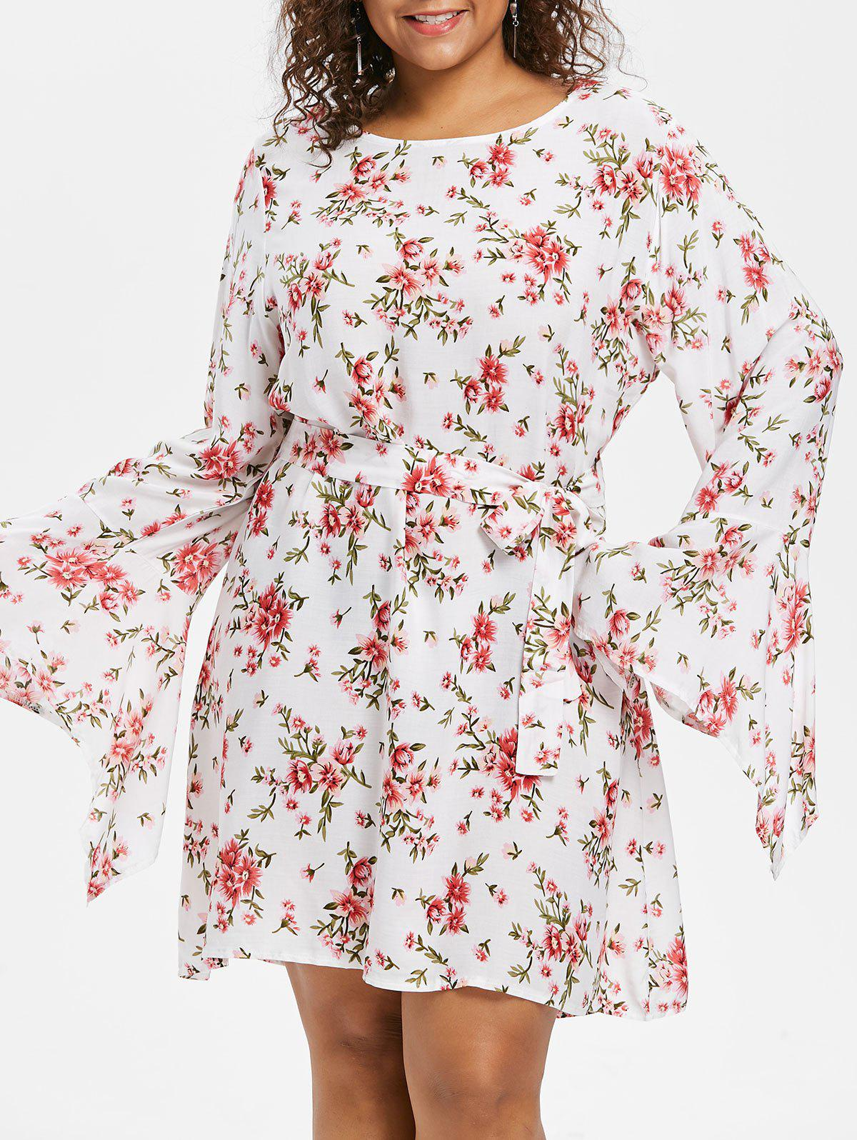 Store Plus Size Flower Bell Sleeve Dress
