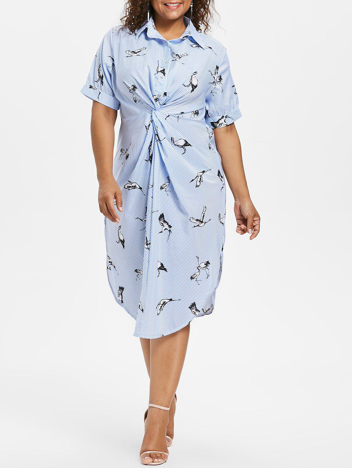Sale Plus Size Striped Crane Shirt Dress