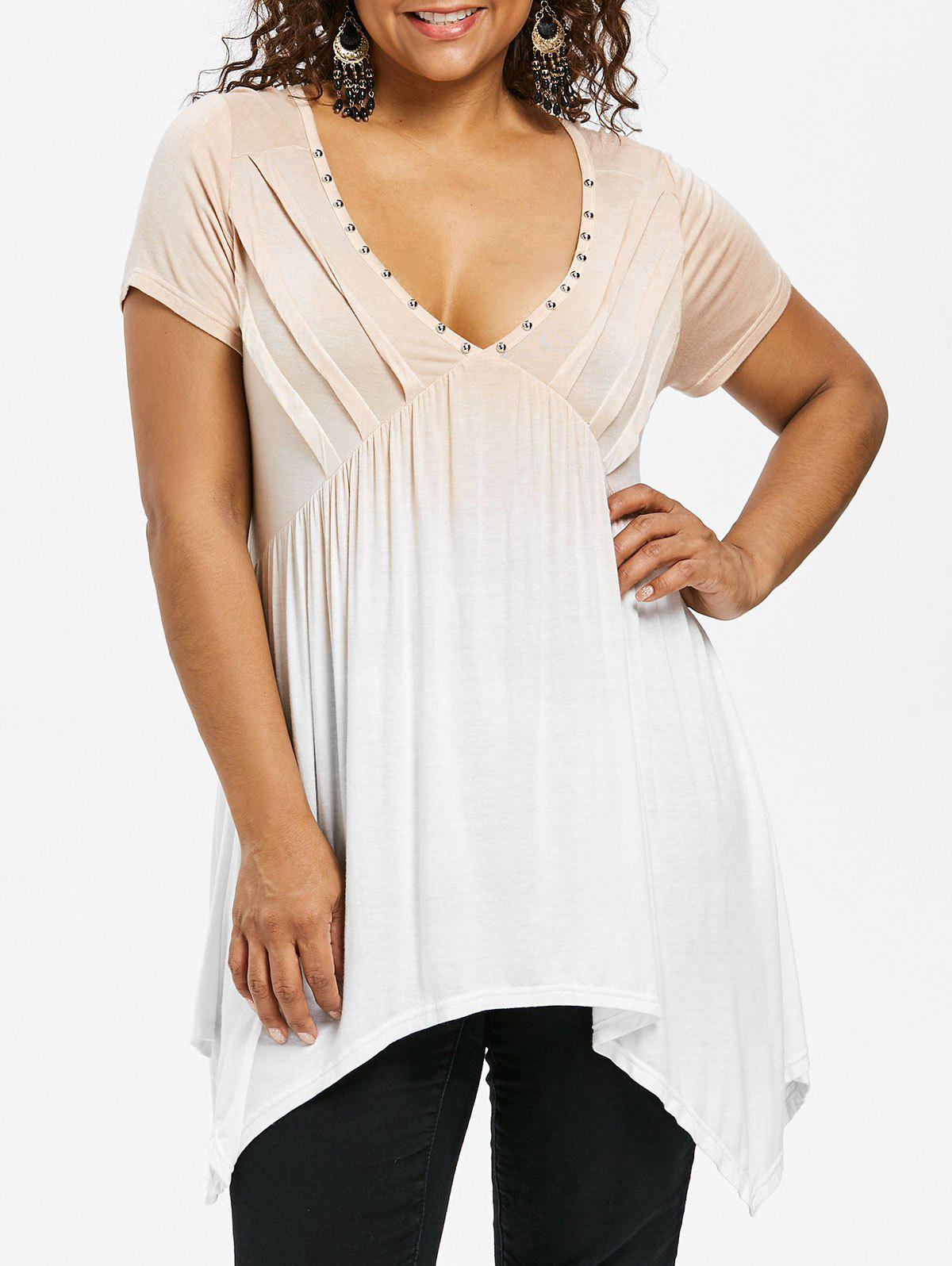 Outfits Plus Size Pintuck Gradient Color Plunging Neck T-shirt