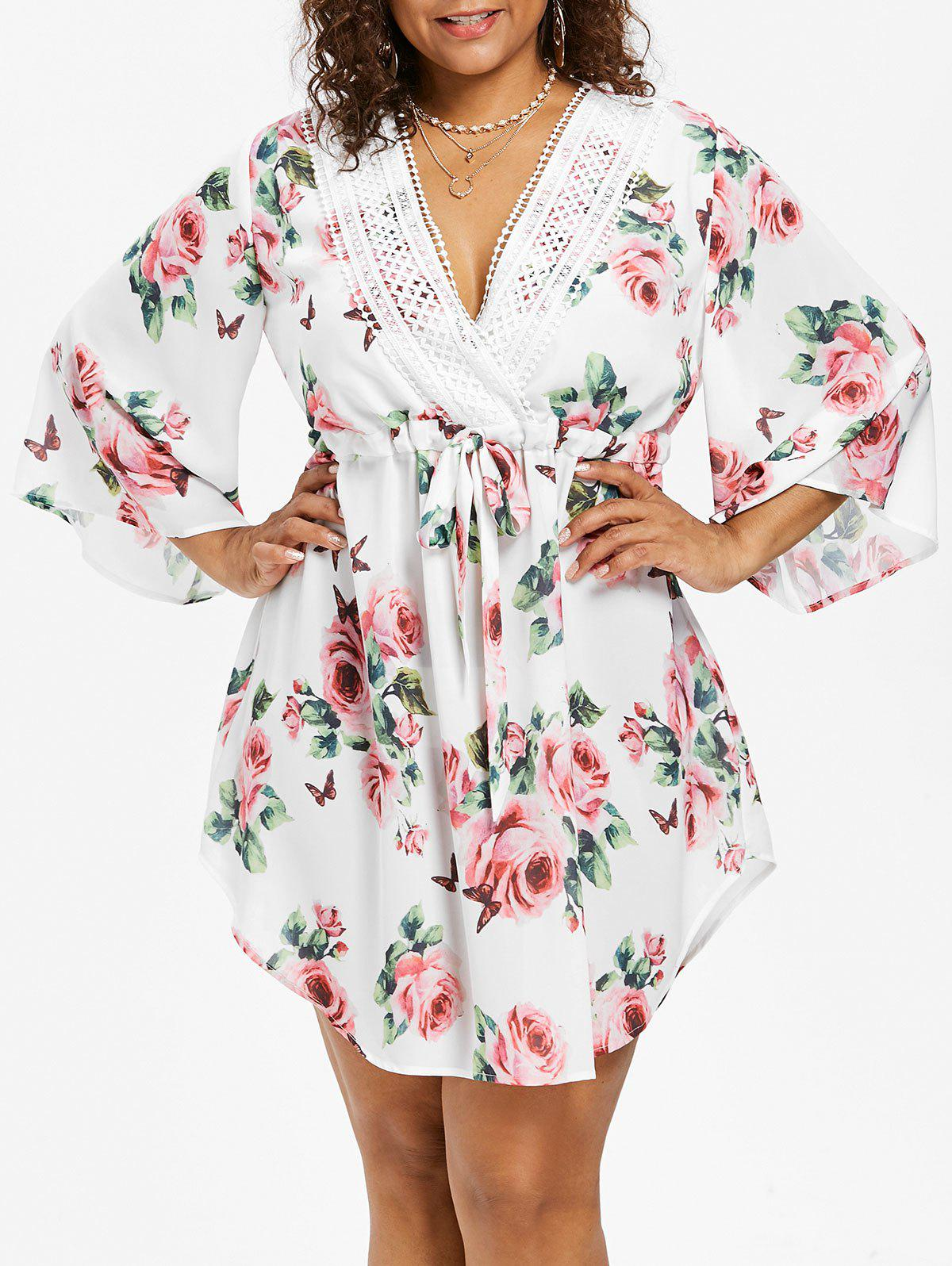 Hot Drawstring Waist Plus Size Floral Print Dress