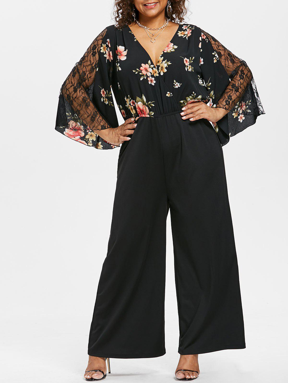 Outfits Plus Size Flare Sleeve Wide Leg Jumpsuit