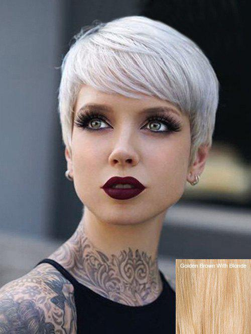 Sale Short Inclined Bang Straight Pixie Human Hair Wig