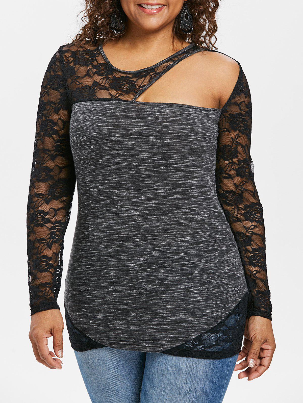 Store Plus Size Lace Panel Marled Fitted T-shirt