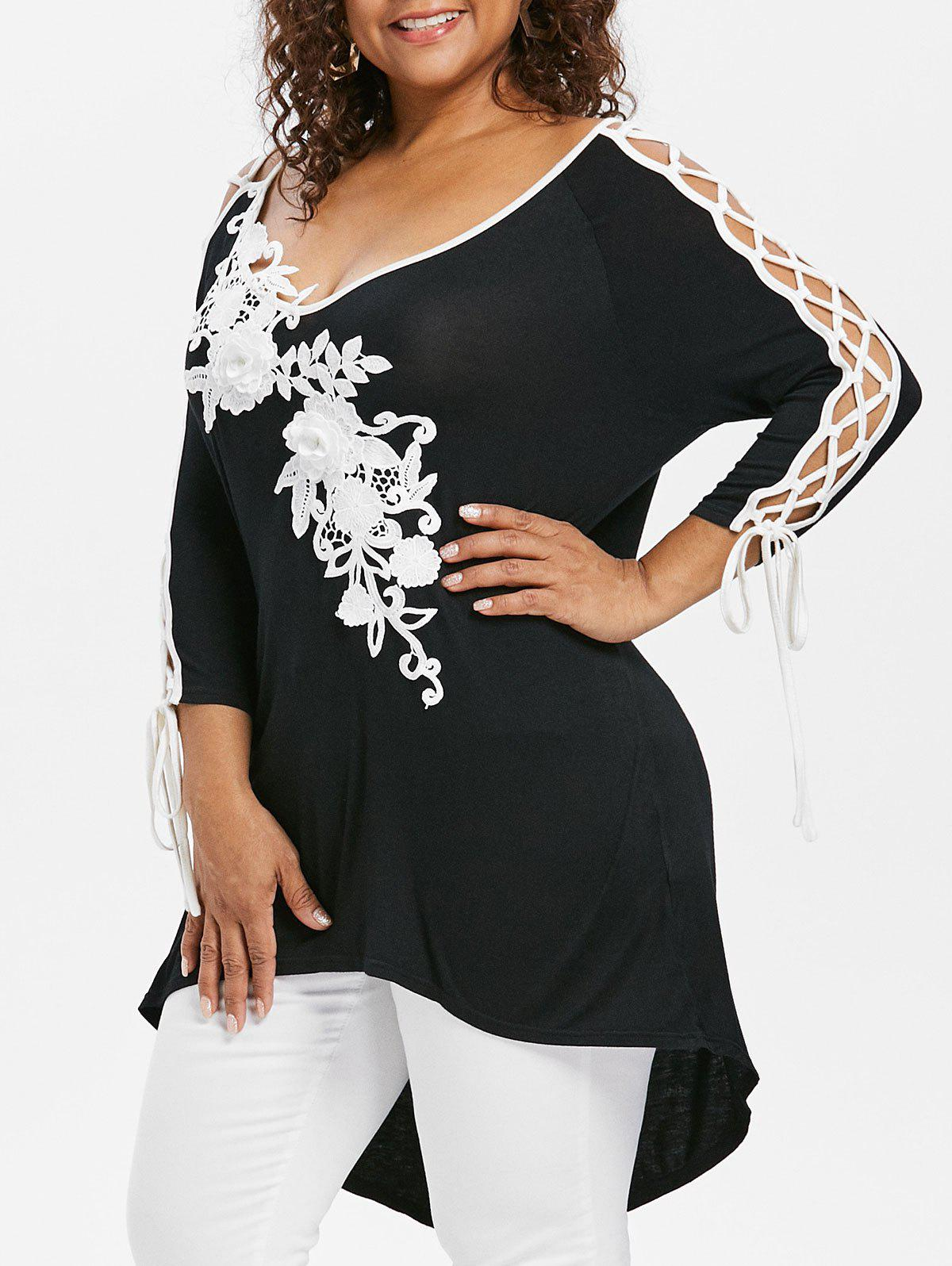 Online Rosegal Plus Size Lace Up High Low Hem T-shirt