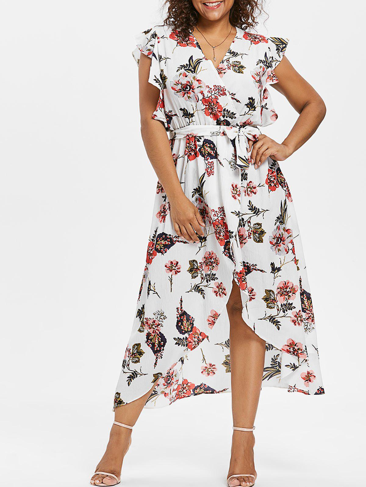 Affordable Plus Size Flower Frill Tulip Dress