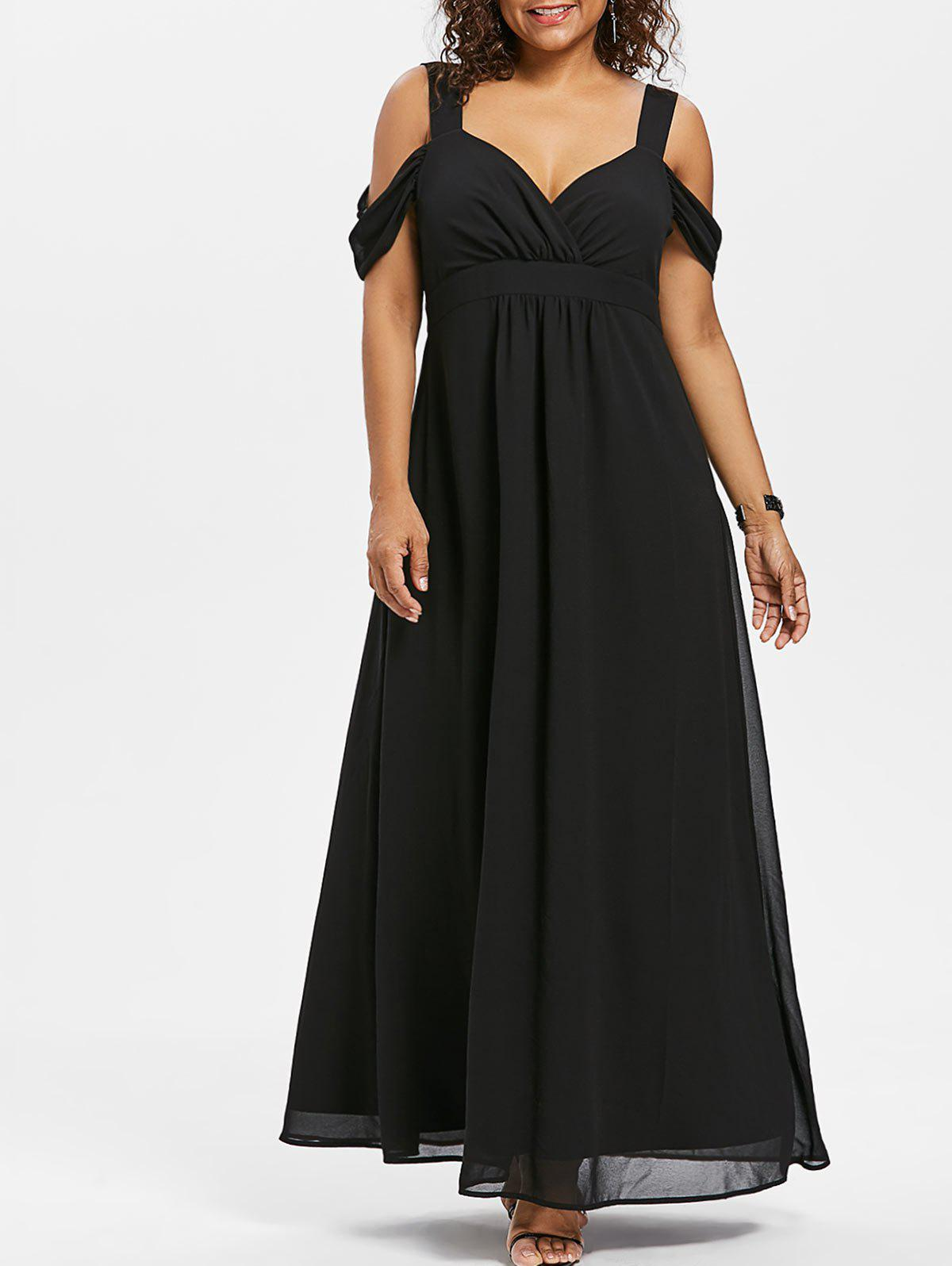 Discount Open Shoulder Plus Size Empire Waist Maxi Dress