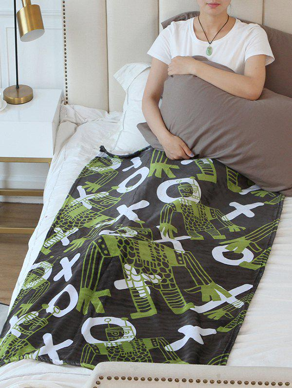 Outfits Robot Print Flannel Soft Bed Blanket