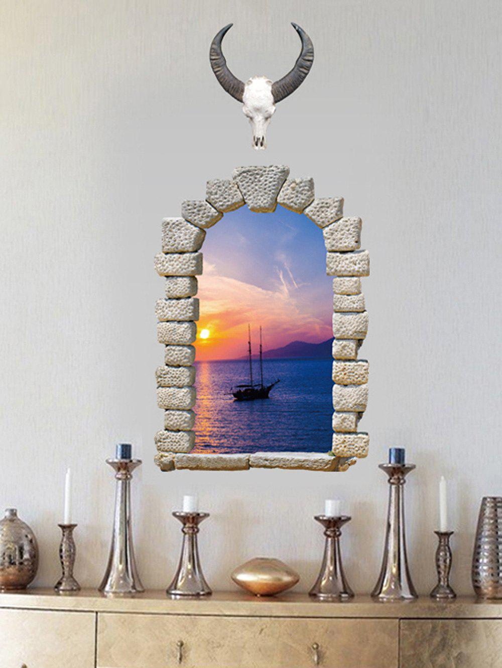 Outfit 3D Broken Wall Brick Sunset Print Removable Wall Sticker