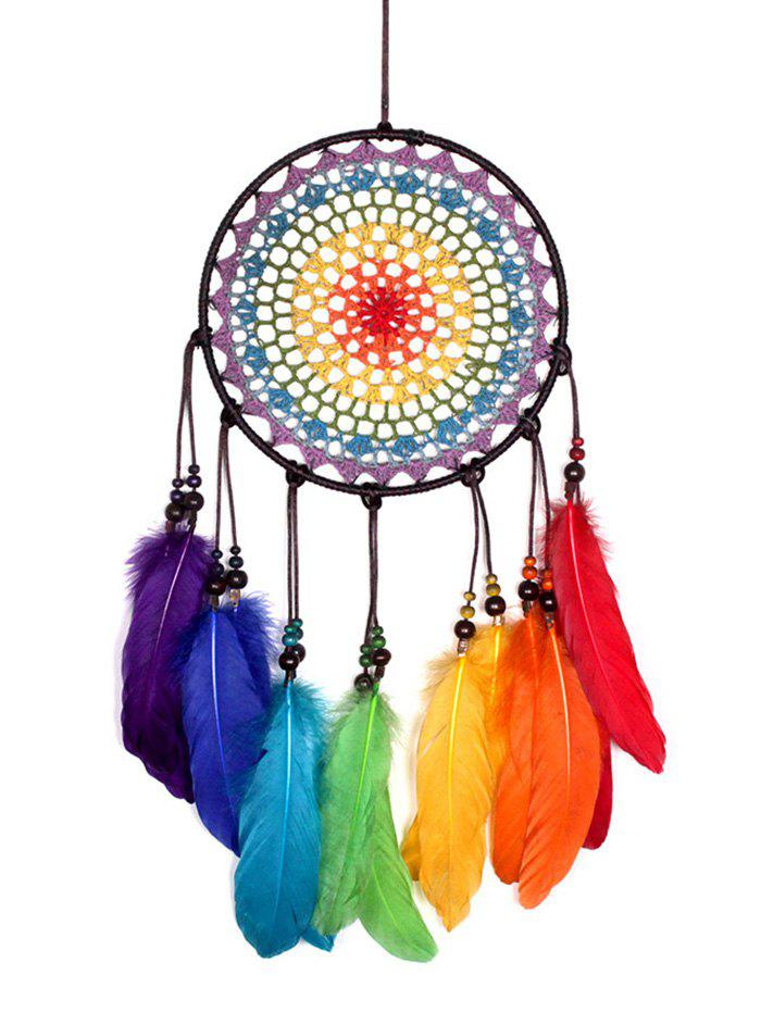 Красочные перья Fringed Handmade Dream Catcher Wall Hanging