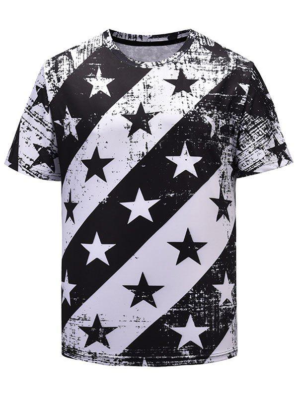 Unique Stars Print Print Loose Casual T-shirt