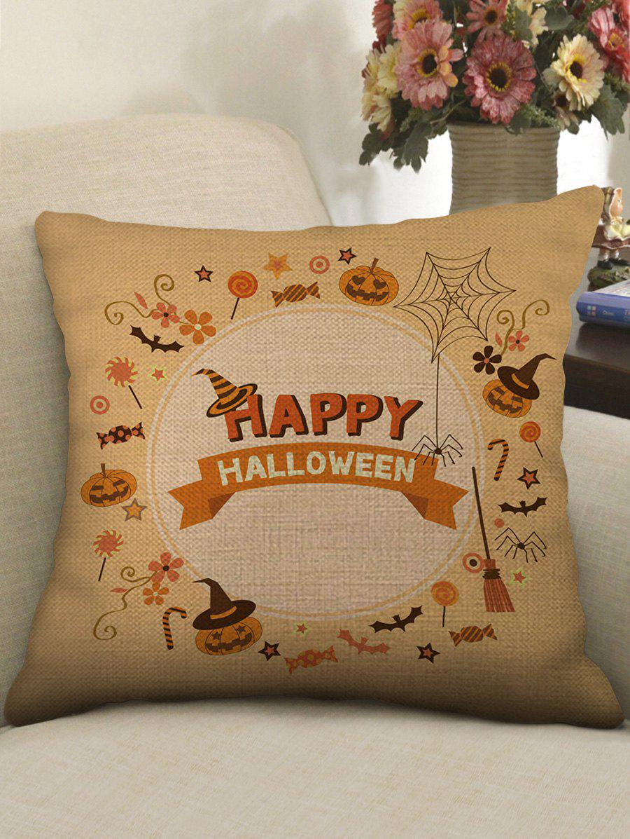 Online Happy Halloween Pumpkin Bat Print Pillow Case