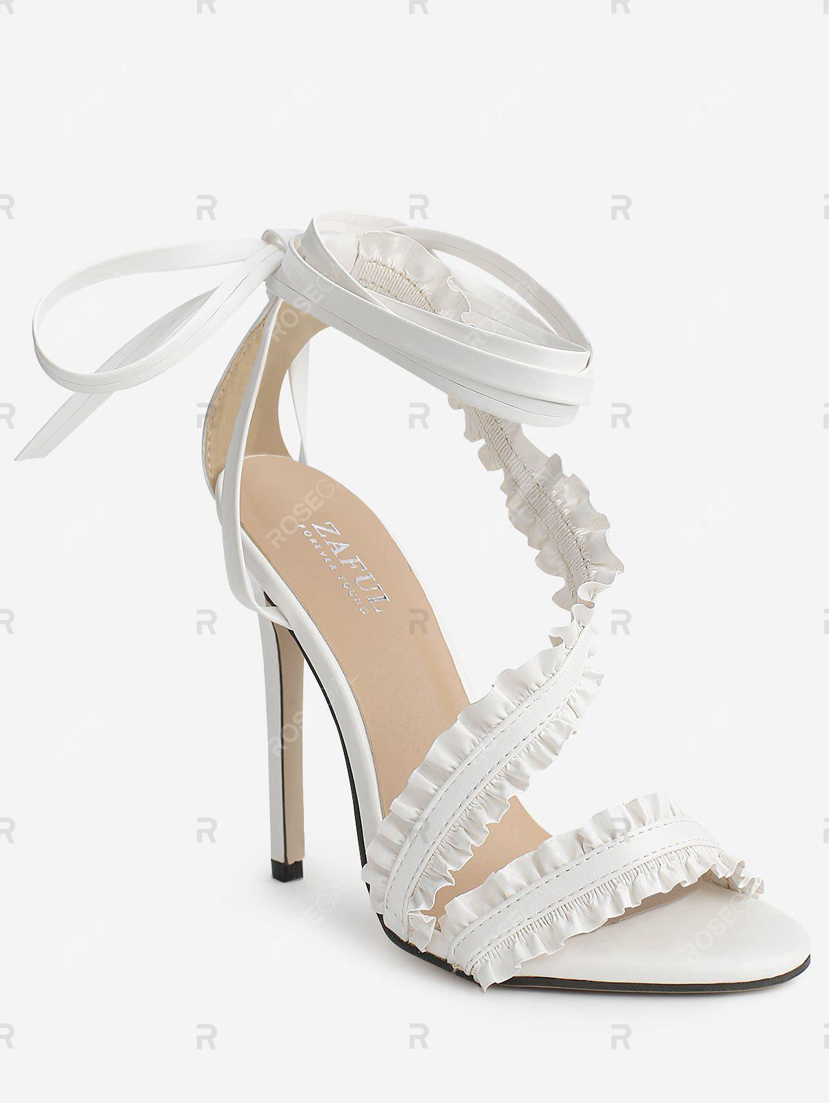 Talon stiletto Lace Up Ruffles Sandales à bride à la cheville