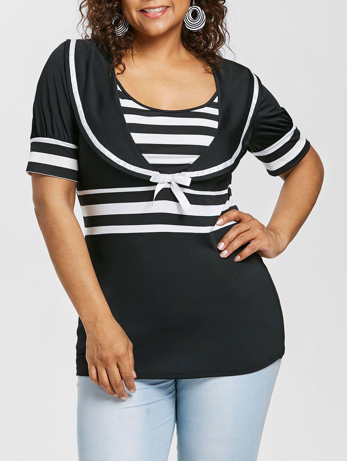New Plus Size Sailor Collar Striped T-shirt