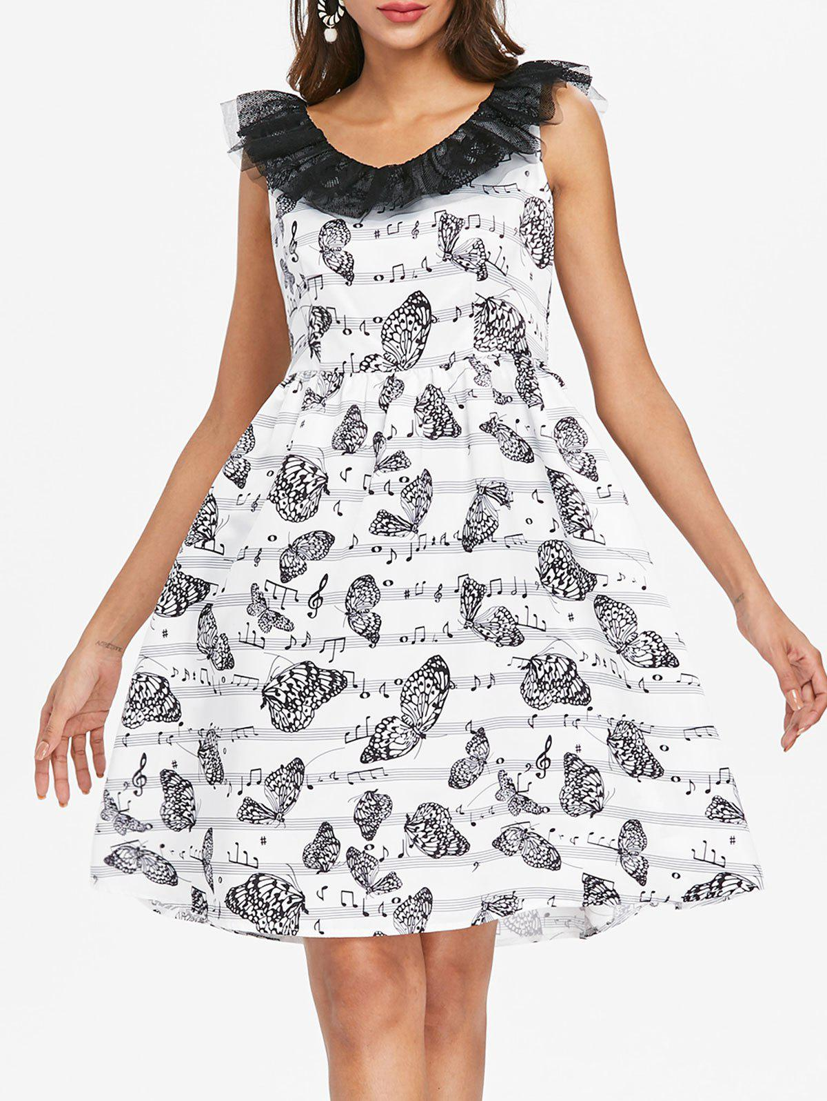 New Lace Butterflies Musical Note Flare Dress