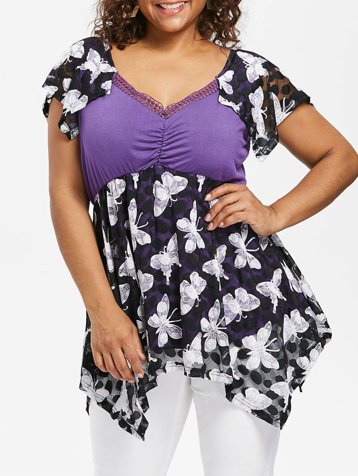 Chic Plus Size Cap Sleeve Butterfly T-shirt