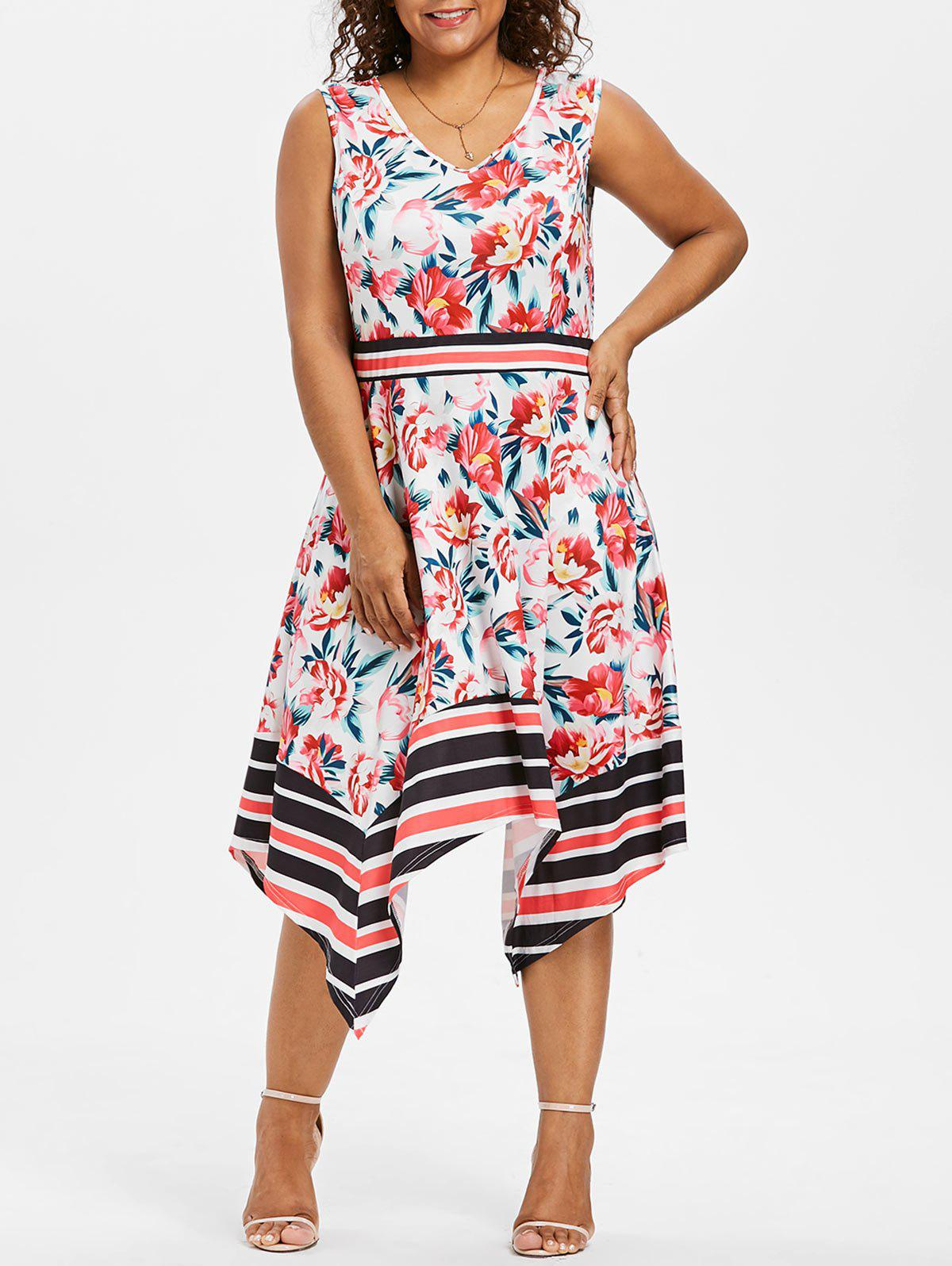 Sale Plus Size Printed Asymmetrical Swing Dress
