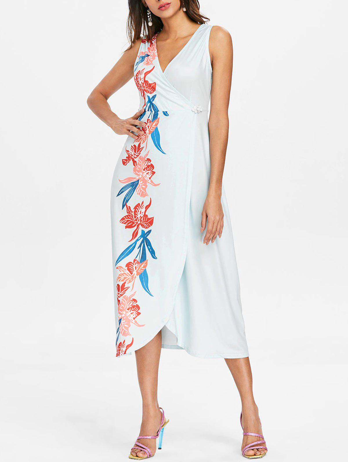 New Sleeveless Plunging Neck Surplice Dress