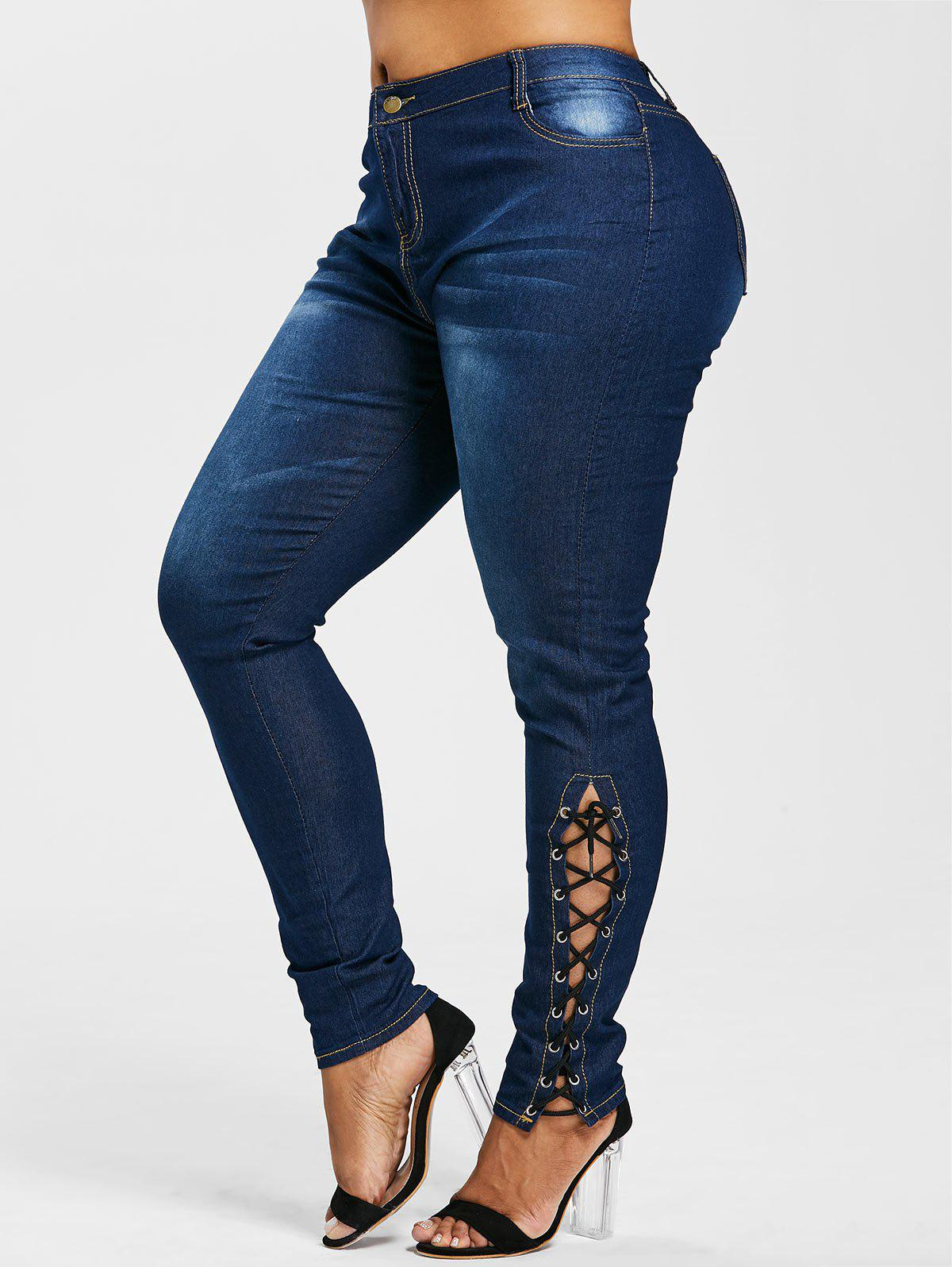 Hot Plus Size Side Lace Up Zipper Fly Jeans