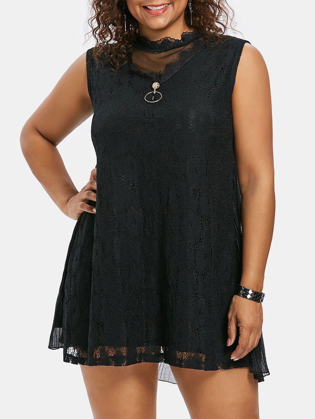 Buy Plus Size Mock Neck Mini Shift Dress
