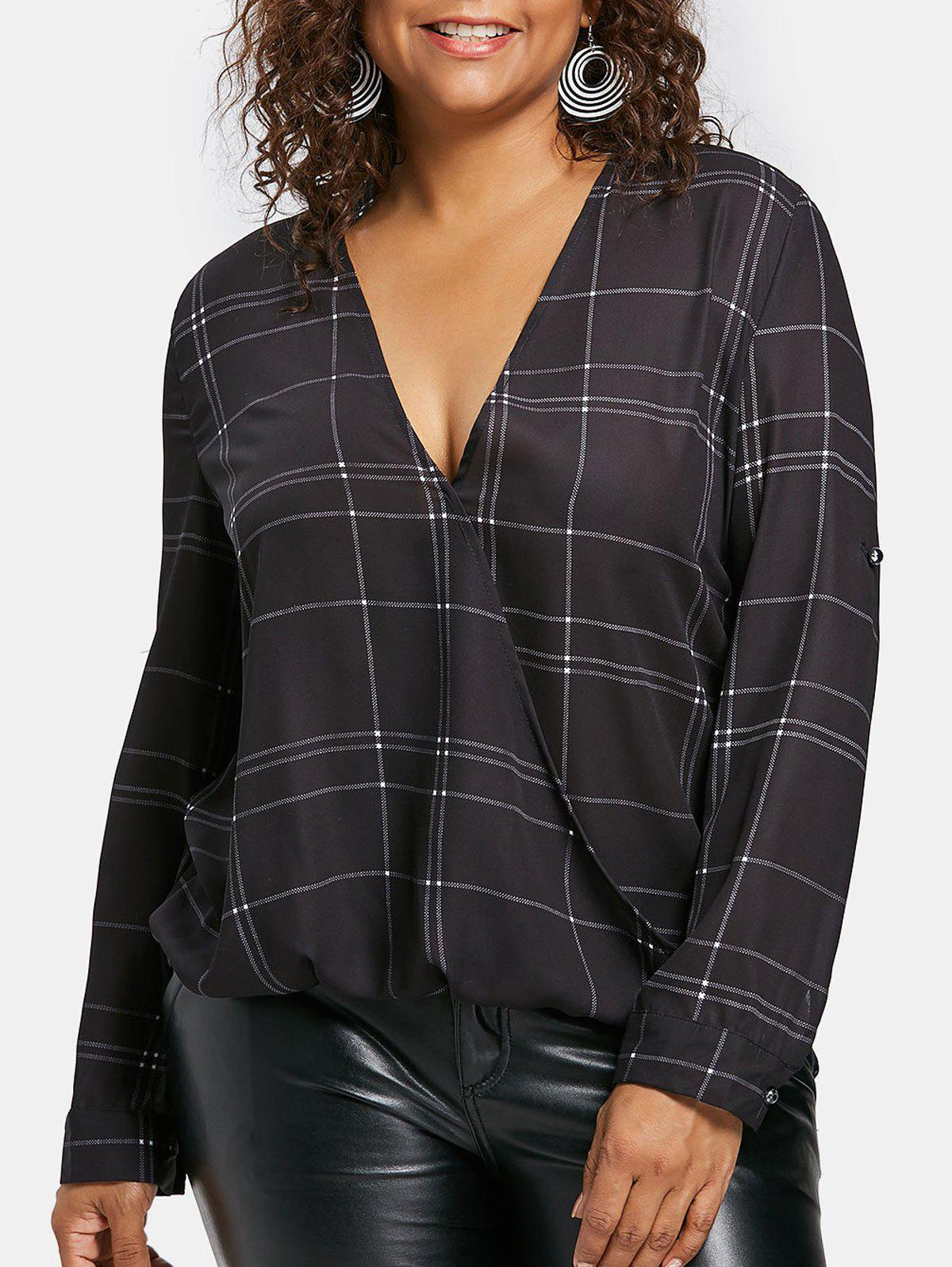 Cheap Plus Size Plaid High Low Blouse