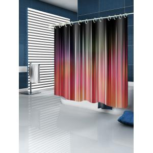 Ombre Striped Print Waterproof Bathroom Curtain -